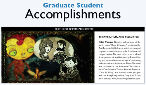 UCLA Graduate Quarterly Student Accomplishment Feature, Giles Timms 2009
