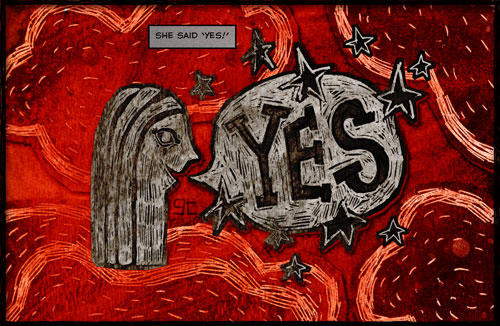Comic Book Wedding Invitation for Angie and Giles, Giles Timms (c)2010