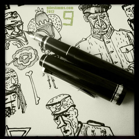 WWII Soldiers drawn with Namiki Falcon, Giles Timms 2012