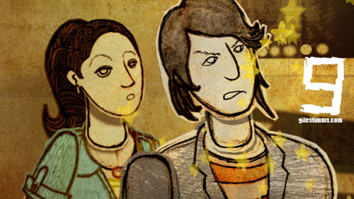 Still image from my Animated Fight Sequence for the film 'Sunset Stories,' depicting Monique Curnen and Sung Kang 2012