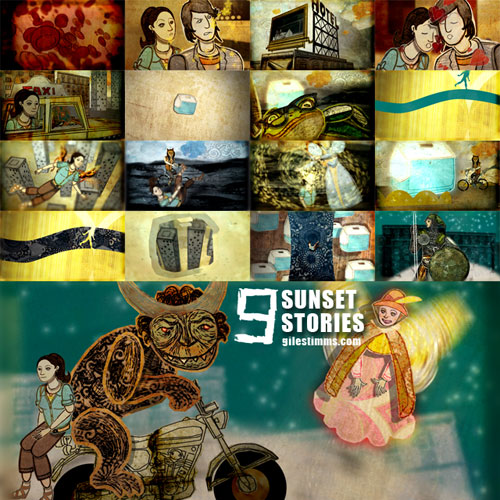 Still images from my animated end title sequence for the film 'Sunset Stories,' 2012
