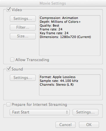 Animation Codec Settings